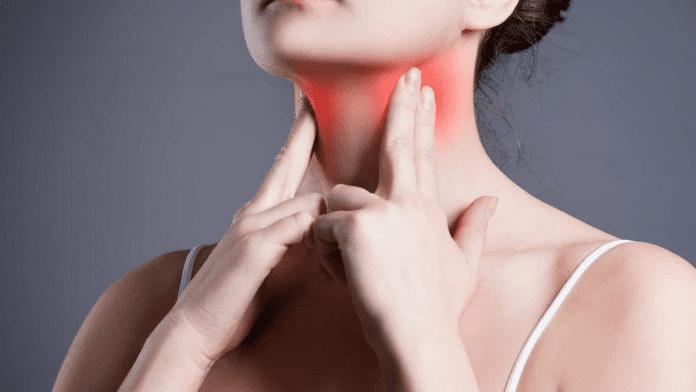 desconforto ou dor na garganta e no pescoço